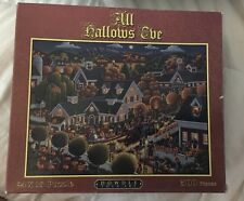 """Dowdle Folk Art """"All Hallows Eve"""" 500 PC 24x18 Puzzle Complete w/poster 3155"""