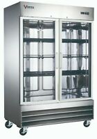 VORTEX Commercial 2 Glass Door Reach-In Refrigerator Stainless Steel, 47 Cu.Ft.