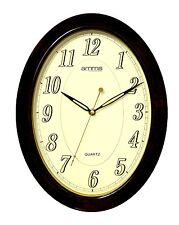 Grand épais Marron Ovale étui Chiffres Arabes Horloge Quartz Mural par AMMS