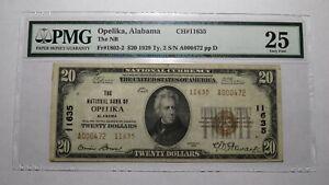 $20 1929 Opelika Alabama AL National Currency Bank Note Bill Ch. #11635 VF25 PMG