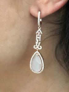 Rose Gold Sterling Silver White Agate & White Sapphire Long Chandelier Earrings
