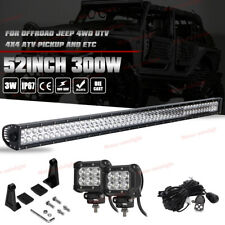 "52"" 300W+ 4"" LED Work Light Bar Wiring Kit Offroad For Jeep Wrangler SUV ATV 54"""