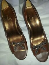 COLE HAAN Air 10 B Rich Brown Leather Bow Heels open toe & cut outs