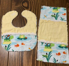 Handmade Rag Quilt 2 Pc Boy Set -bib & burp pad-cute turtles, frogs, fish