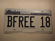 EXPIRED VINTAGE ILLINOIS Land of Lincoln VANITY License Plate BFREE 18 IL be