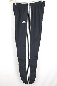 adidas Mens sz XL Black White Striped Cotton Lined Nylon Wind Pants  Cuffed