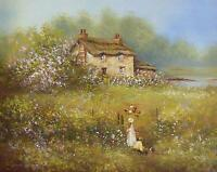 Lovely Les Parson Original Oil Painting - Countryside Landscape With Children