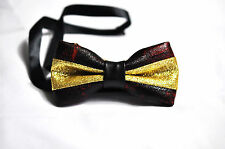 Mens PVC Faux Leather Dark Red Shining Bow Tie Bowties Wedding Party
