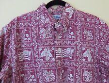 Reyn Spooner Pullover Reverse Print Floral Hawaiian Shirt Men's Size M