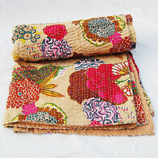 Indian Vintage Fruit Print Handmade Kantha Quilt Bedding 100% Cotton Twin Throw