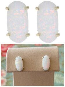 Kendra Scott Betty Stud Earrings, White Opal in Goldtone, NWT $95