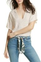 Free People Women's Ivory V-Neck T-Shirt Blouse Top Size M $58.00
