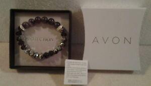 """Avon """"PROTECTION"""" rose quartz & purple faceted glass bead bracelet one size NIB"""