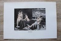 Jugendstil Kunst Blatt 1905 Erotik Frau MODELLPAUSE Akt Nude Erotic Risque nackt
