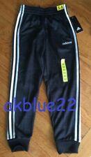NWT Adidas Boys Jogger Pants S 8 LOGO Soccer BLACK Heather White Stripe Athletic