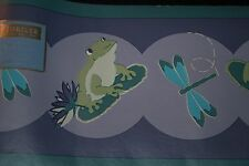 Jubilee Froggie Wall Paper Border 2 pcs NEW 15ft Each Frog Dragonfly Pre-Pasted