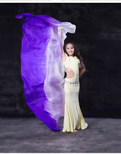 New Arrivals Children Belly Dance Silk Veils Gradient White Purple Colors