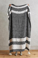 New Anthropologie Looped Tuva Light Black And White Throw Blanket 50x70