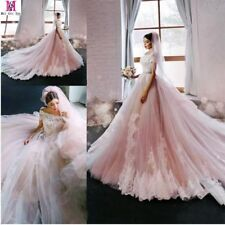 New Blush Pink Princess Wedding Dress Lace Applique Luxury Bridal Gowns