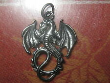 USA SELLER GOTHIC WINGED FIRE DRAGON SILVER PEWTER TONE PENDANT CHARM NECKLACE