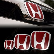 3PCS Front+Rear+Steering Wheel Red H Emblem for 06-15 HONDA CIVIC Sedan SI DX EX