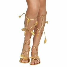 Ladies Roman Greek Gold Sandals Egyptian God Goddess Toga Shoes Cleopatra Leaves