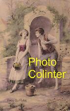 """"""" Près du Puits """"  Luxographie  A.Noyer - carte postale ancienne colorisée"""