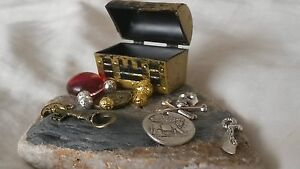 Miniature Pirate Treasure Chest with Treasure. Party Favour, Stocking Filler