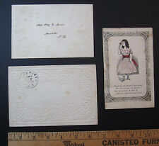SUPER Early ca 1850 Valentine with 2 Embossed Envelopes Valentine's Day RARE