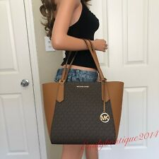 NWT MICHAEL KORS KIMBERLY BROWN ACORN SIGNATURE LEATHER BONDED TOTE SHOULDER BAG