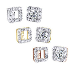 0.63 Ct Round Cut Natural Diamond In 14K Gold Jackets Earring -IGI-