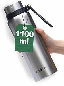 1L Thermosflasche mit Griff Silber Edelstahl  Iso Flasche Bottle Kanne Thermo