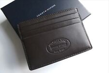 TOMMY HILFIGER Brown Leather Card Holder Wallet NEW IN BOX