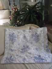VINTAGE~LAURA ASHLEY SOPHIA BLUE & WHITE CORDED STANDARD PILLOW SHAM  #294