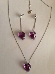 Swarovski Amethyst Crystal Heart Earrings & Necklace Set - LOVELY! - New in Box