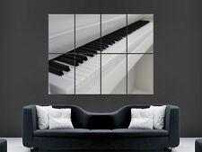 BIANCO Tasti di pianoforte MUSICA ARTE semplicistico immagine grande parete poster gigante