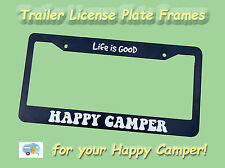 "Vintage Travel Trailer, Canned Ham, Camper  License Plate Frame ""Happy Camper"""