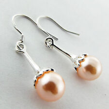 EARRINGS GENUINE REAL 952 STERLING SILVER S/F ANTIQUE PINK PEARL DROP DESIGN