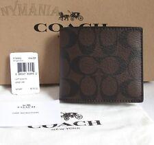 NWT COACH F74993 Mens Compact ID 3 IN 1 Wallet Signature Logo Mahogany Brown