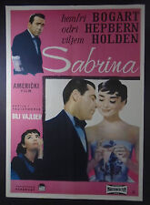 SABRINA Billy Wilder Humphrey Bogart Audrey Hepburn 1954 YUGO MOVIE POSTER