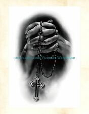 "US Seller- floral fake tattoo prayer hand cross rosary 8.25"" large arm tattoo"