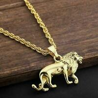 Lion Pendant 18K Gold Plated Chain Animal Charm Necklace Giftshion Men's F8J8