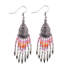 Silver Resin Beads Tassels Ethnic Dangle Female Women Boho Fashion Earring USA