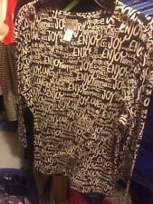 Chico's 3/4 Sleeve Brown Top w/ White Print Positive Words Sz 3