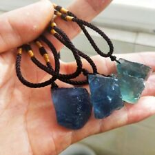 GEMSTONE Clear Crystal Natural Quartz Stone Healing Necklace Fluorite Pendant