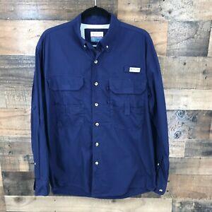 Magellan Men's Navy Long Sleeve Vented Back Button Front Fishing Shirt Size M
