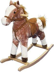 Childrens Rocking Horse with Sound Kids Girls Boys Toy Plush Pony Animal Rocker
