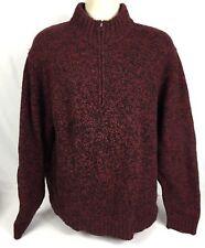Woolrich Mens 1/4 Zip Mock Neck Heavyweight Lambswool Knit Sweater Red/Blk XXL