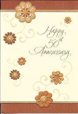 Happy 50 50th Golden Anniversary Gold Trim Flowers Hallmark Greeting Card