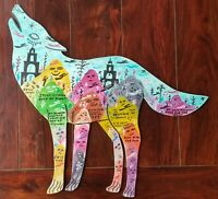 """Howard Finster art """"Howling Wolf"""" - SIGNED ORIGINAL 1989 painting on wood"""